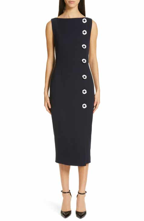 67647ac4a069 Lela Rose Floral Button Wool Blend Crepe Dress