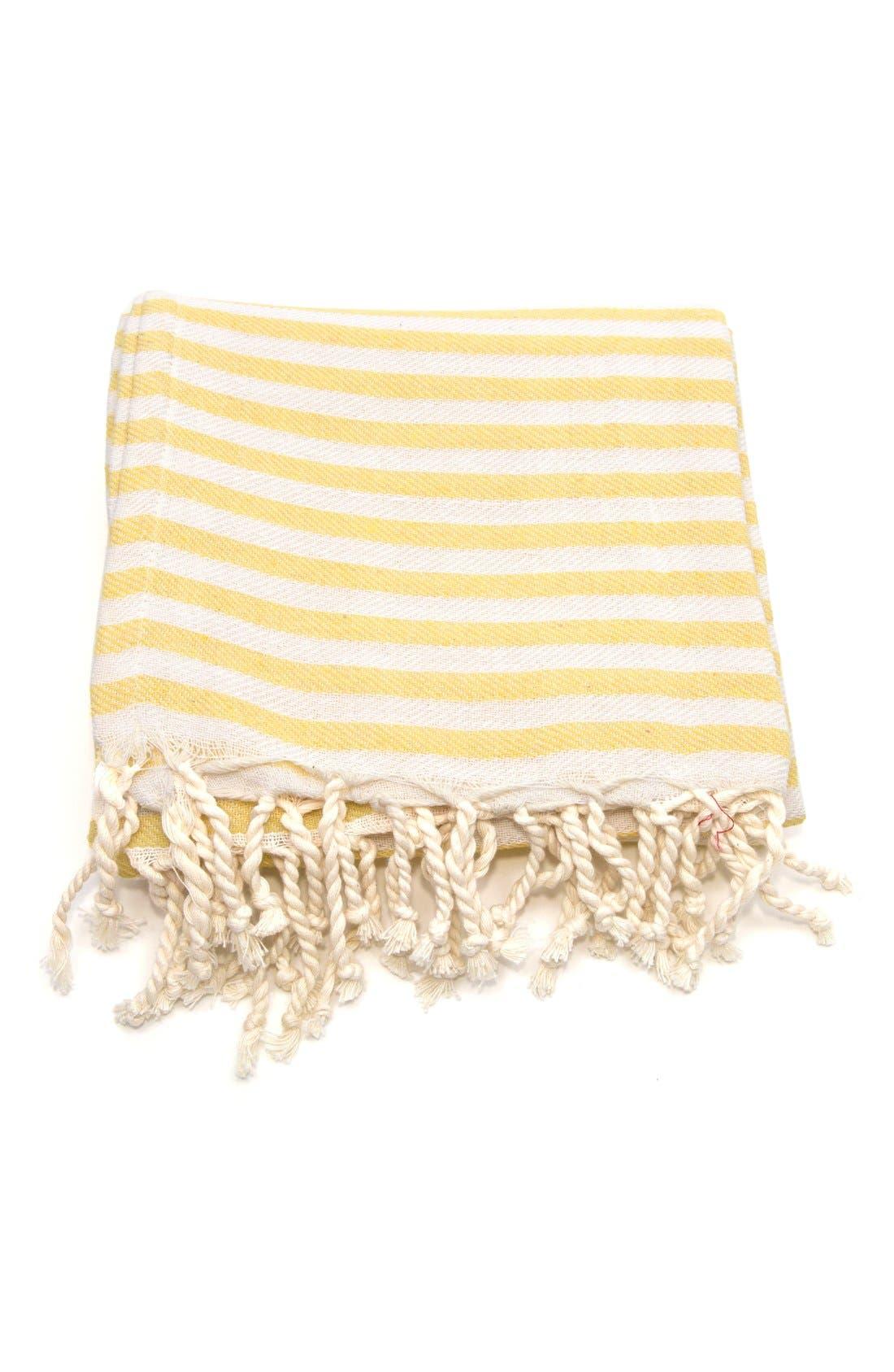 'Fun in the Sun' Turkish Pestemal Towel,                             Alternate thumbnail 3, color,                             Sunshine Yellow