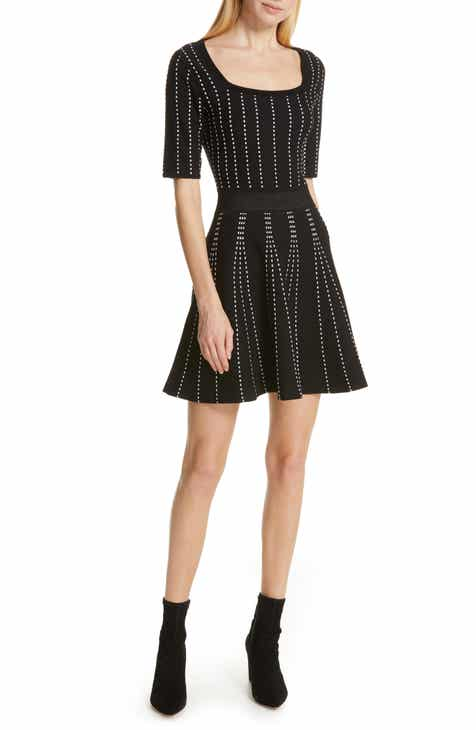 bdf392ca39 Club Monaco Teddiko Stripe Detail Fit   Flare Sweater Dress