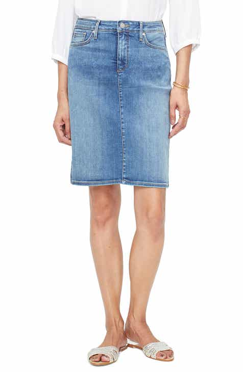 17777ede10703 NYDJ Frayed Hem Denim Skirt