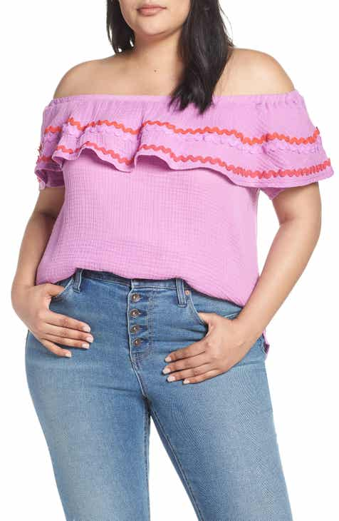 859be4ca74fa7c Santa Fe Rickrack Off the Shoulder Top (Plus Size) (Nordstrom Exclusive)