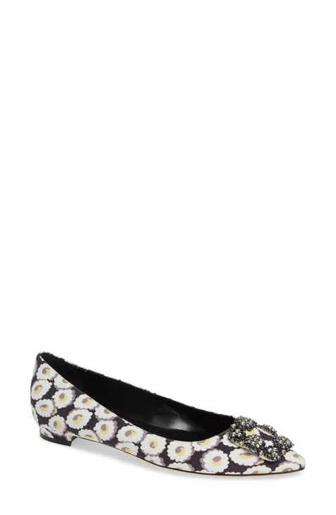 111b9493610 Manolo Blahnik Hangisi Floral Pointy Toe Flat (Women)