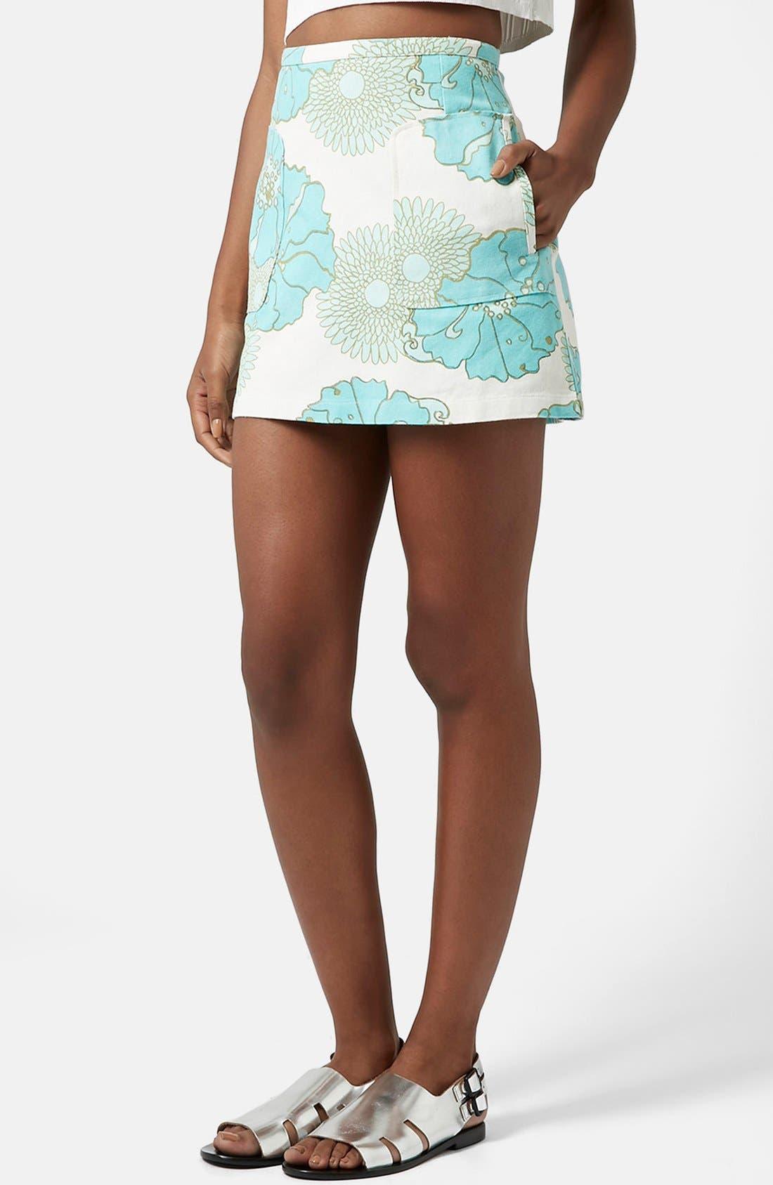 Main Image - Topshop Retro Floral Miniskirt