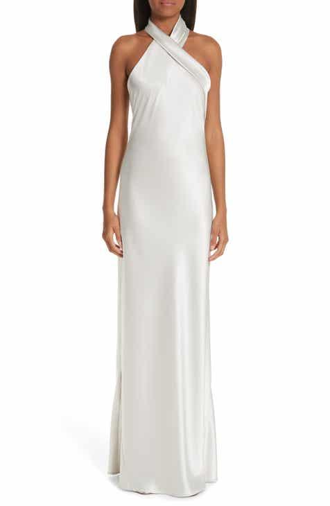 9c3bb342a26 Galvan Twist Halter Neck Satin Dress