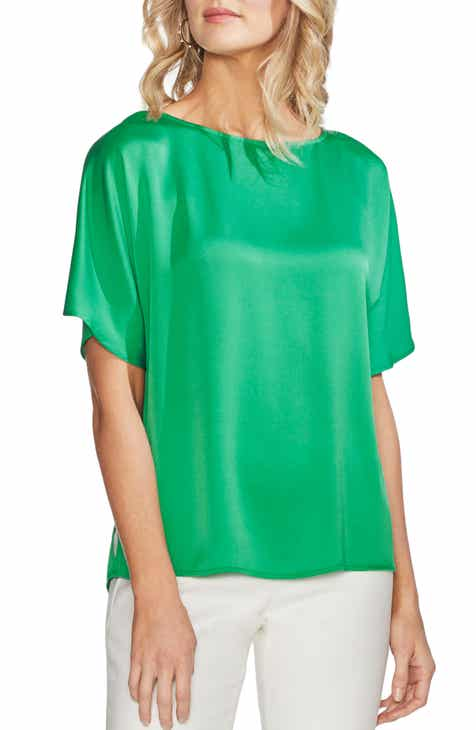 55a4ea35e2c Vince Camuto Pleat Back Hammer Satin Top (Regular   Petite)