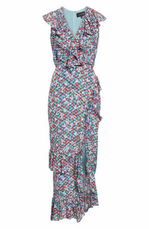 08479ab4c76 SALONI Anita Ruffle Trim Silk Burnout Dress