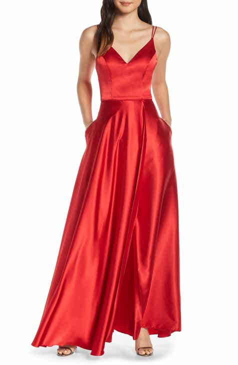 42f1d76c4367 Sequin Hearts Double Strap Satin Evening Gown