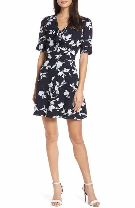 f0fa487b03e Chelsea28 Tie Front Floral Print Fit   Flare Dress