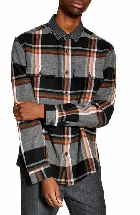 f50b33125c442 Topman Slim Fit Denim Collar Flannel Shirt