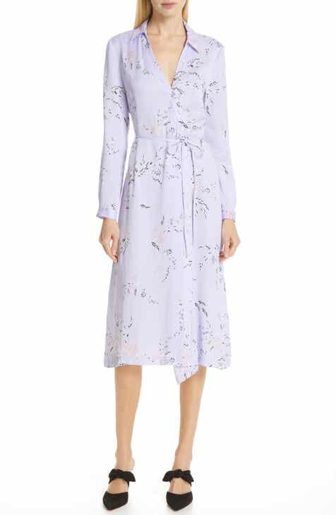 676a45b37728 Equipment Fabienne Asymmetrical Button Front Silk Blend Midi Dress