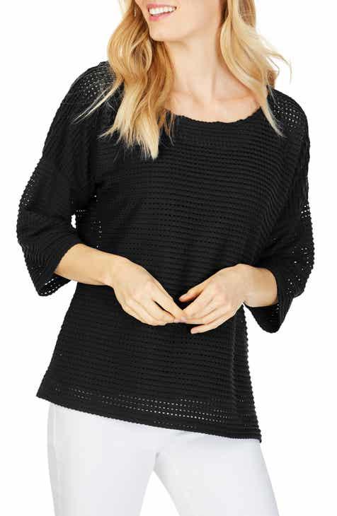 Foxcroft Kim Textured Stripe Pullover