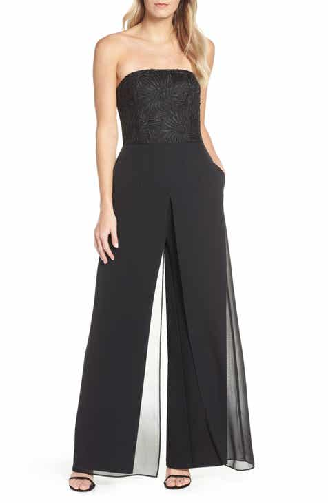 9be78529f98 Adrianna Papell Strapless Soutache Crepe Jumpsuit