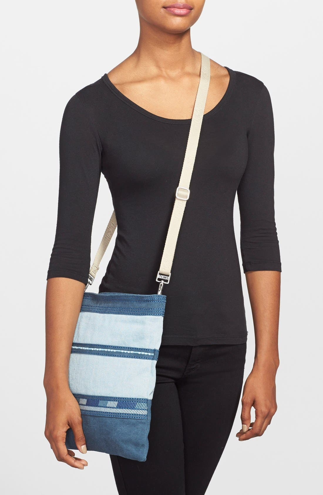 Alternate Image 2  - TOMS Stripe Denim Crossbody Bag
