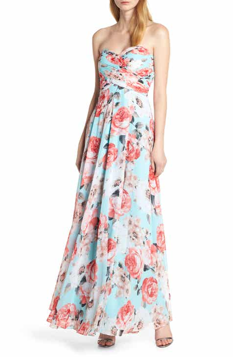 80244c607bf8 Sequin Hearts Strapless Floral Evening Dress