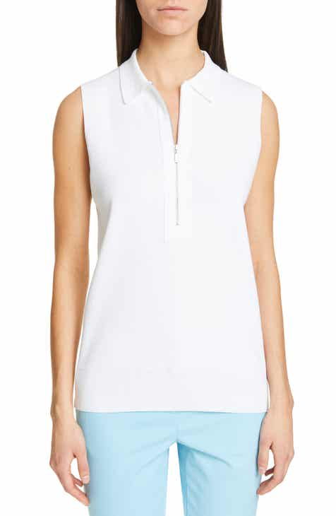 Lafayette Fitted Sleeveless Polo Sweater by LAFAYETTE 148