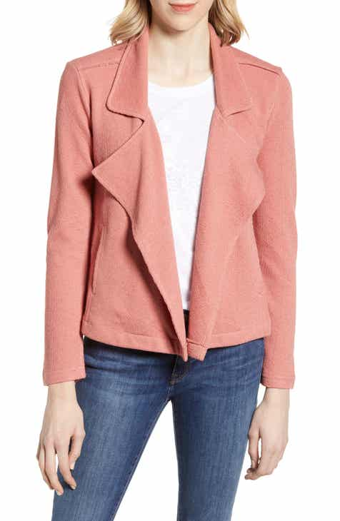 016d6738ed Caslon® Drape Front Stripe Jacket (Regular   Petite)