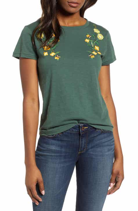 79dc124edd8 Lucky Brand Floral Embroidered Cotton Tee