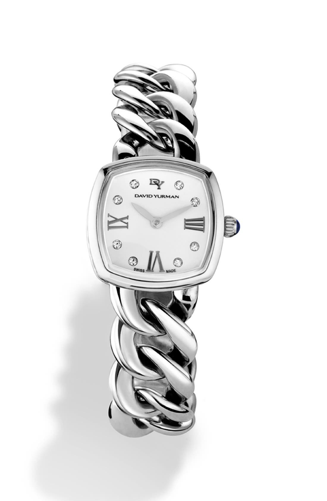 David Yurman 'Albion' 23mm Stainless Steel Quartz Watch with Diamonds