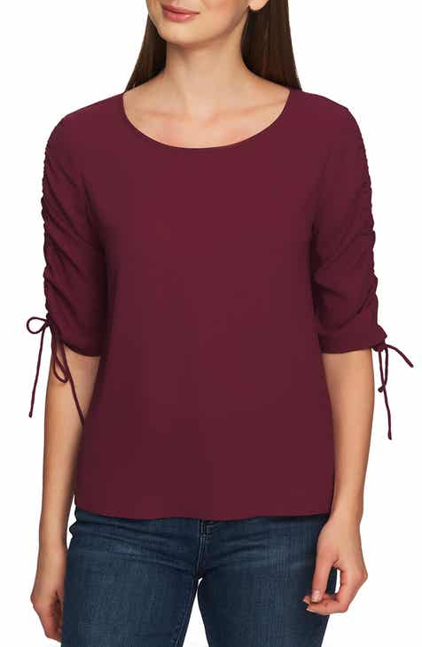 61a55dc9afac3 STATE Ruched Detail Tie Sleeve Blouse
