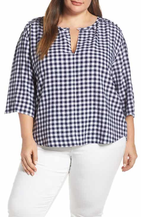 6b868258b3cf7 Caslon® Check Linen Blend Popover Top (Plus Size)