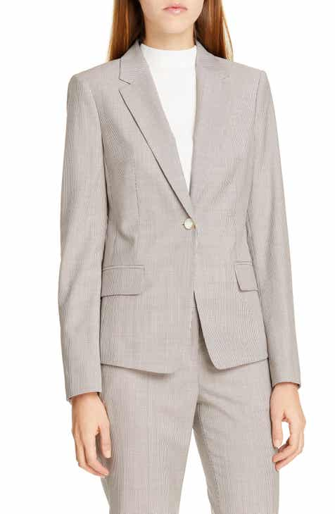 BOSS Jibalena Mini Houndstooth Wool Jacket by BOSS HUGO BOSS