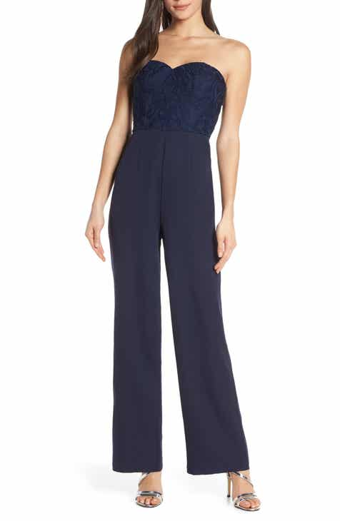 Chi Chi London Naomi Embroidered Bodice Strapless Jumpsuit