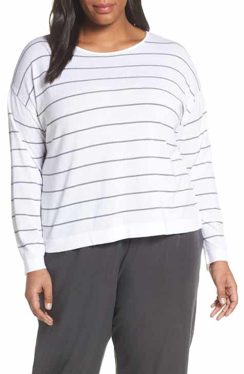 Eileen Fisher Jewel Neck Boxy Top (Plus Size) by EILEEN FISHER
