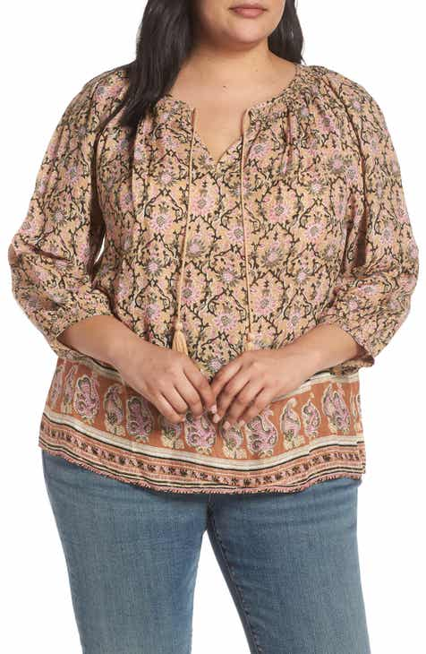 4ad88f01990 Lucky Brand Border Print Peasant Top (Plus Size)