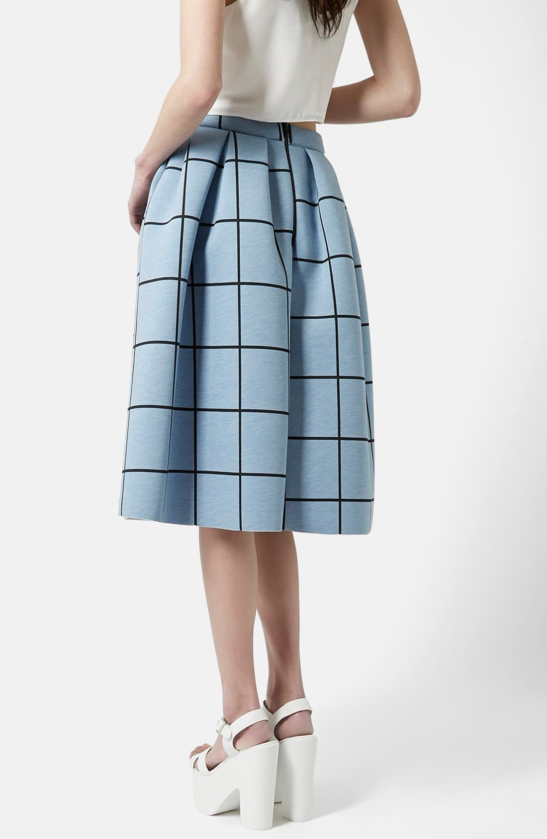 Alternate Image 2  - Topshop Windowpane Midi Skirt