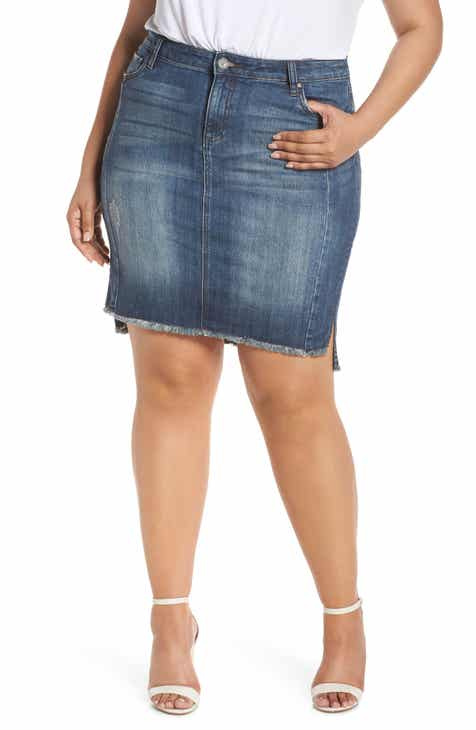 45e0049010e32 KUT from the Kloth Connie Fray Step Hem Denim Skirt (Plus Size)