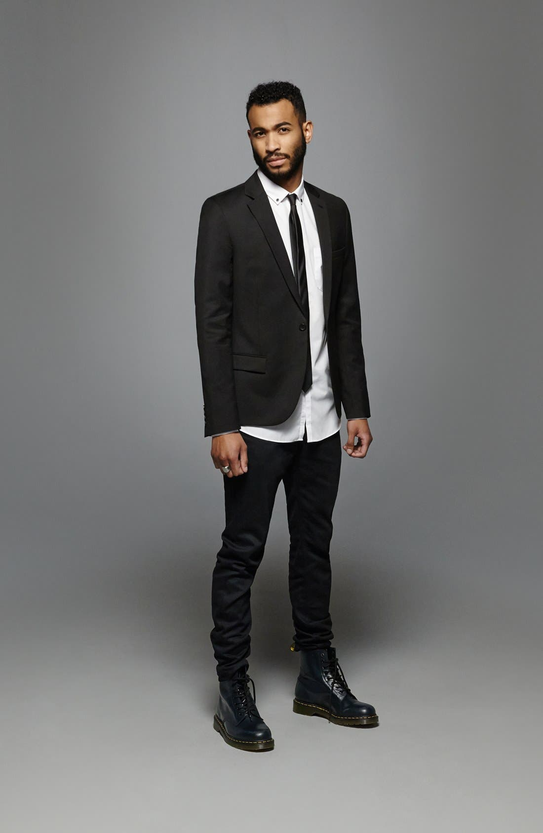 Alternate Image 6  - Topman Black Textured Skinny Fit Suit Jacket