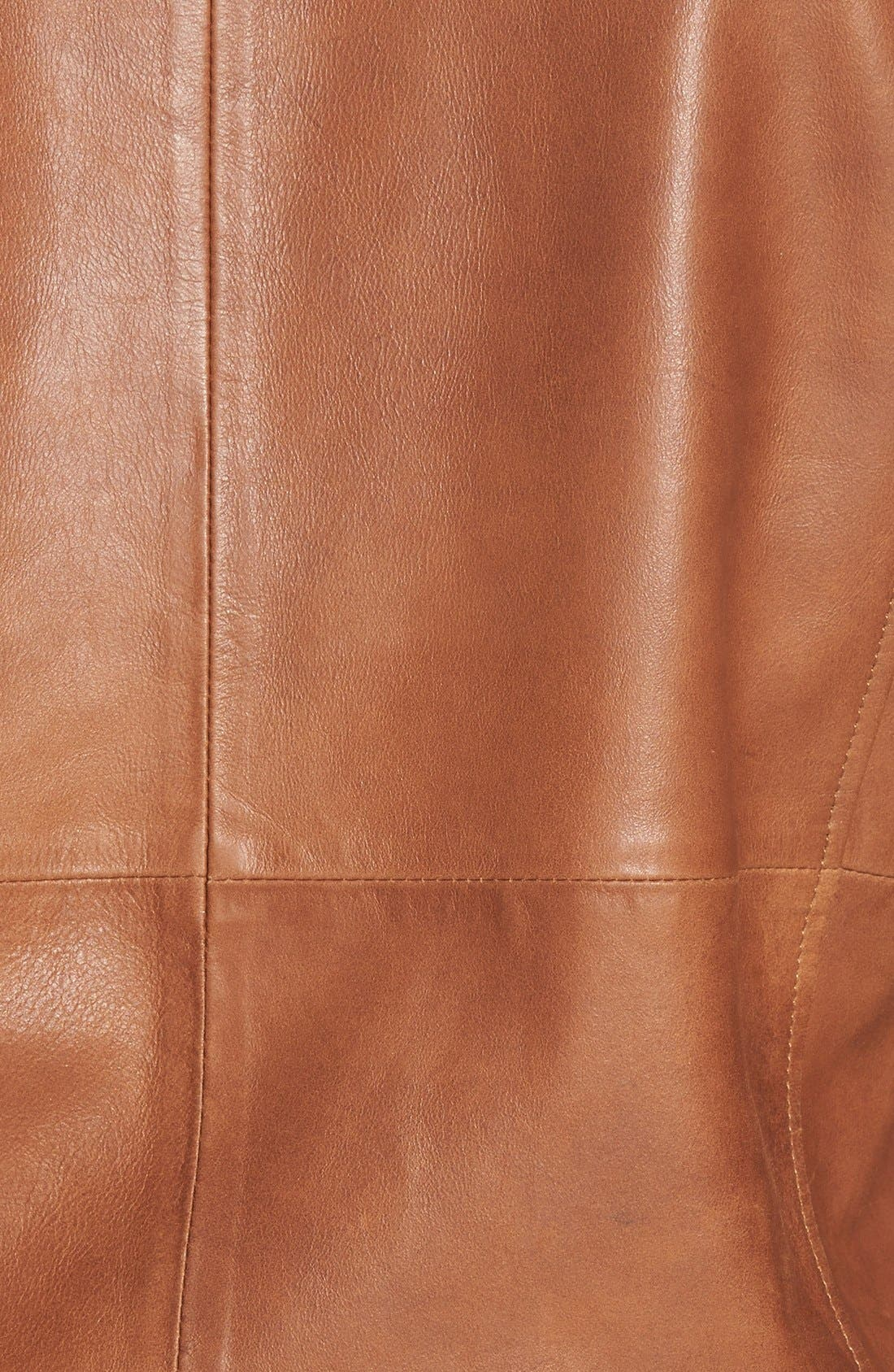 Leather Bomber Jacket,                             Alternate thumbnail 3, color,                             Saddle Brown