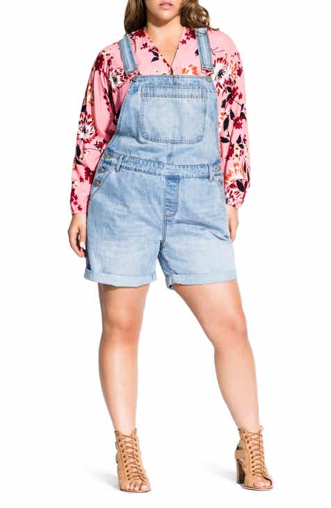 163232f69cdb City Chic Short Denim Overalls (Plus Size)