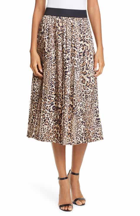 b04d22b5fa Helene Berman Animal Print Pleated Skirt