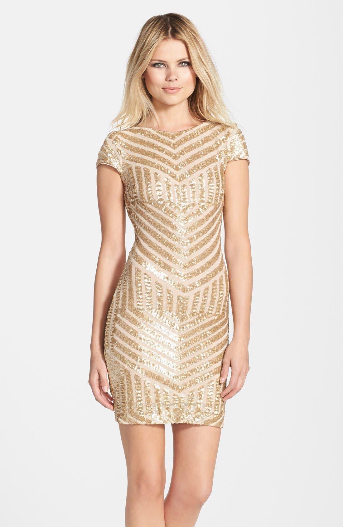 Tabitha Sequin Minidress,                             Main thumbnail 1, color,                             Brushed Gold