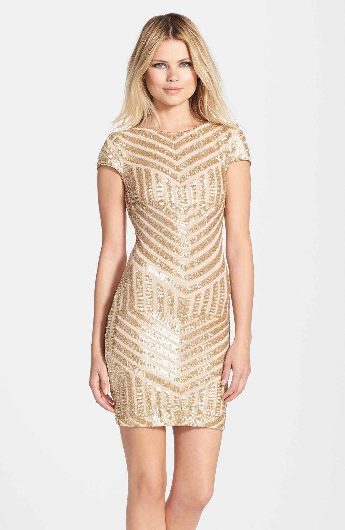 Tabitha Sequin Minidress,                         Main,                         color, Brushed Gold
