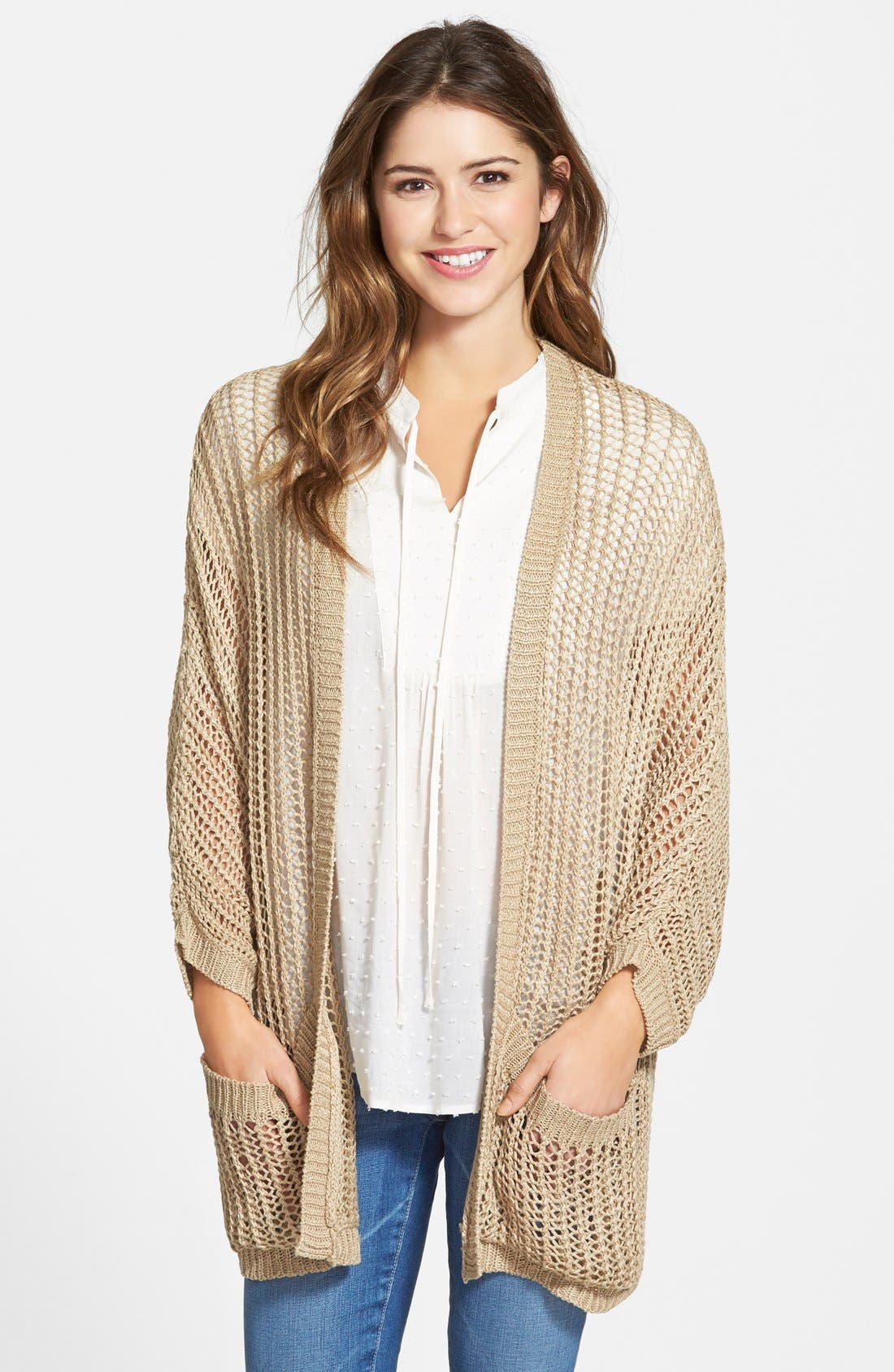 Alternate Image 1 Selected - RD Style Open Stitch Cardigan