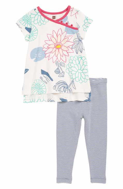Tea Collection Print Top & Leggings Set (Baby)