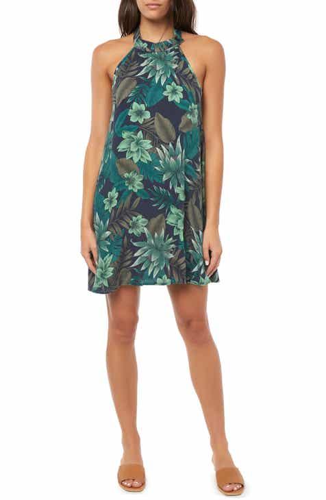 0daec80dd3f3 O Neill Felice Leaf Print Halter Minidress