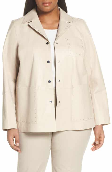 Lafayette 148 New York Jolisa Grommet Detail Leather Jacket (Plus Size) by LAFAYETTE 148