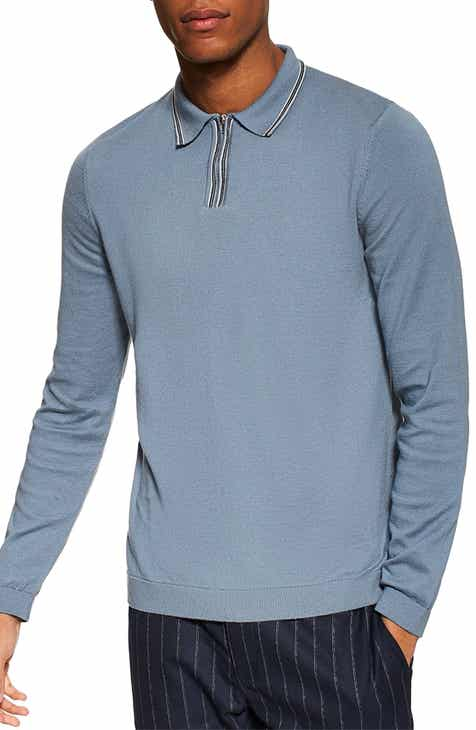 45980e205f7 Topman Tipped Zip Long Sleeve Polo