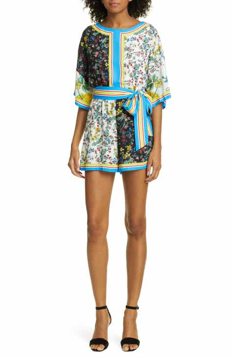 Alice + Olivia Bowie Pattern Mix Tie Waist Romper by ALICE AND OLIVIA