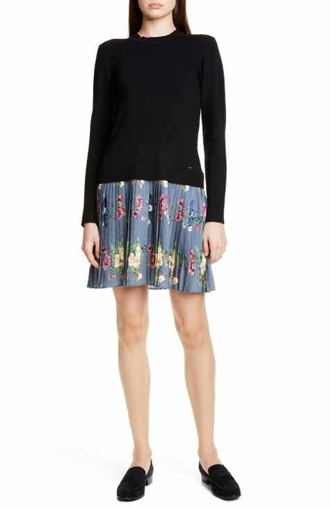 Ted Baker London Izitaa Oracle Long Sleeve Pleat Skirt Dress by TED BAKER LONDON