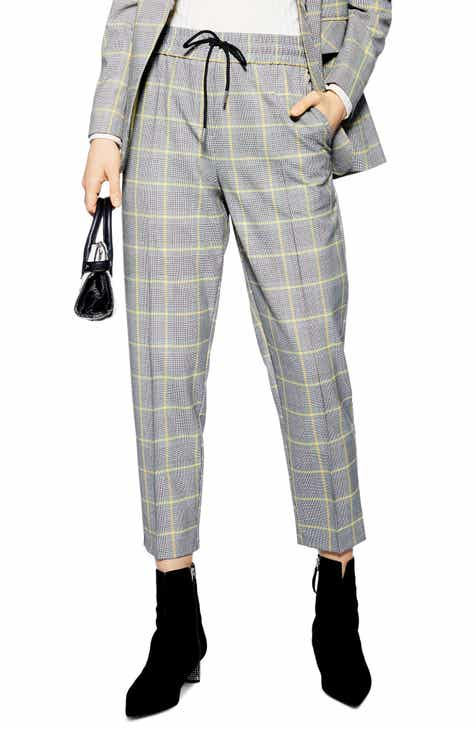 69912970605 Topshop Windowpane Check Tapered Crop Pants