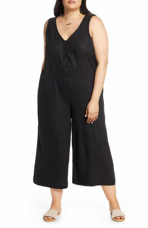 Treasure & Bond Button Front Sleeveless Linen Blend Jumpsuit (Plus Size) by TREASURE AND BOND