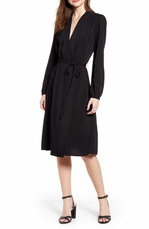 Chelsea28 Long Sleeve Midi Wrap Dress