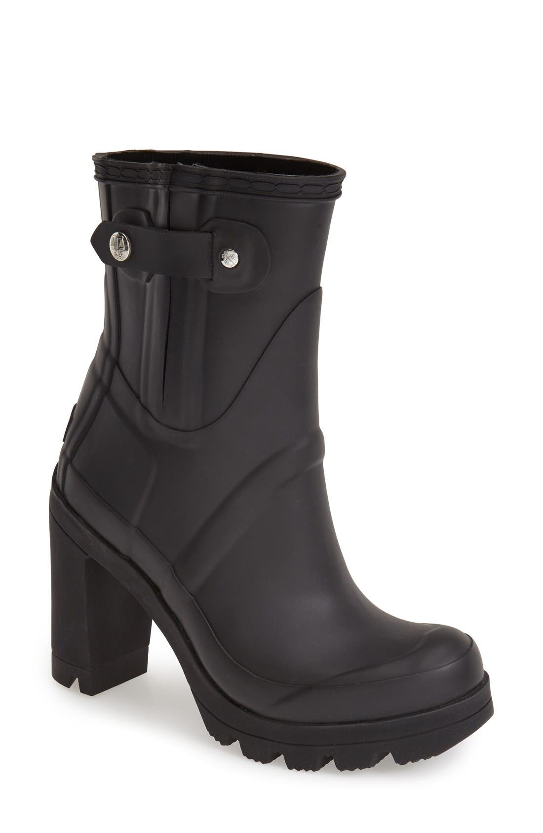 Original High Heel Women US 9 Black Rain Boot