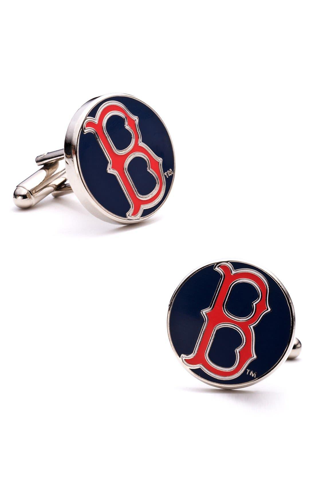'Boston Red Sox' Cuff Links,                         Main,                         color, Silver