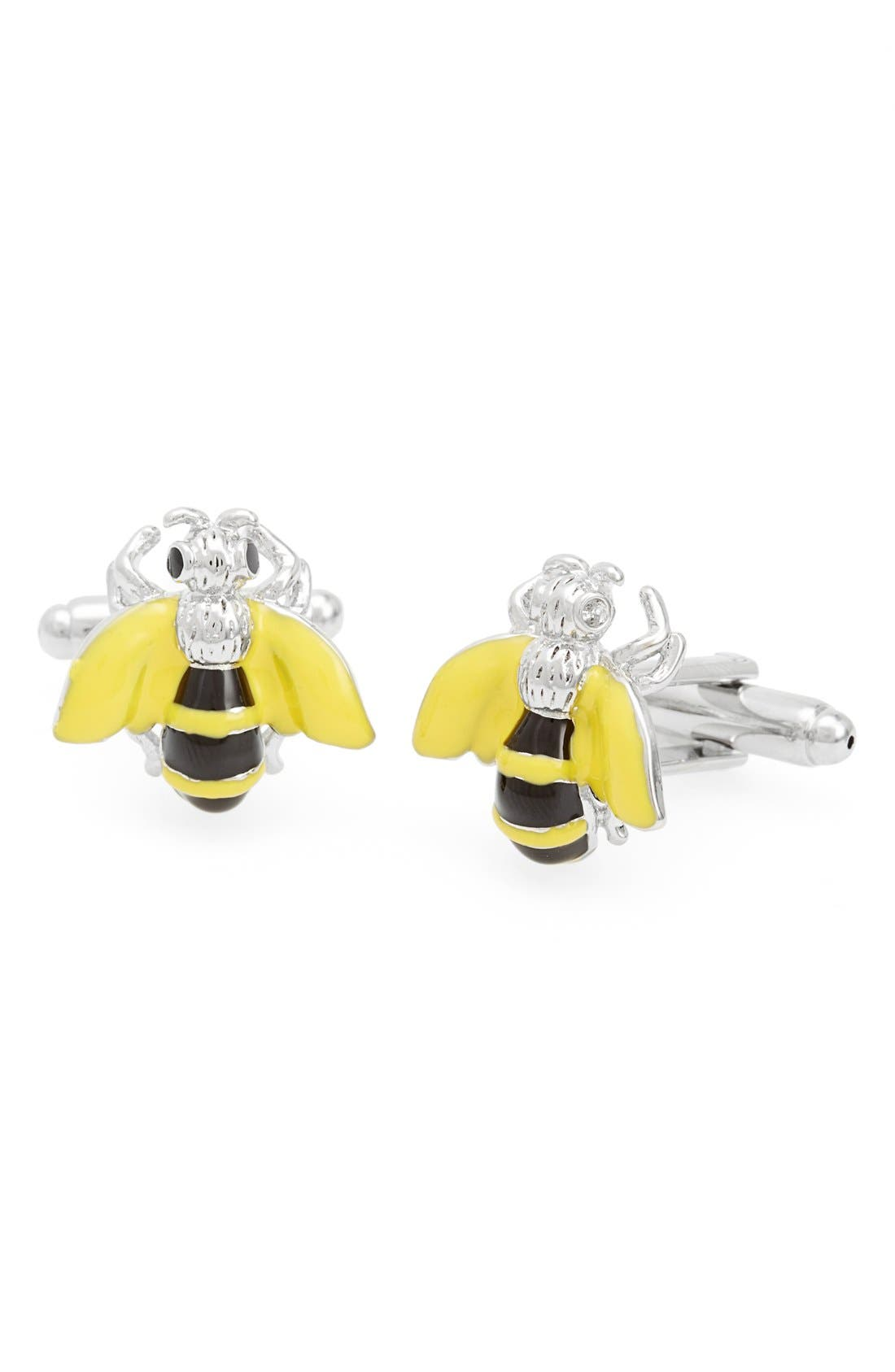 'Bee' Cuff Links,                             Main thumbnail 1, color,                             Silver/ Black/ Yellow Wings