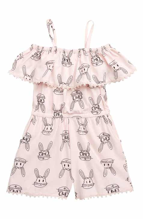 296a99db526 Tucker + Tate Bunny Print Off the Shoulder Romper (Toddler Girls